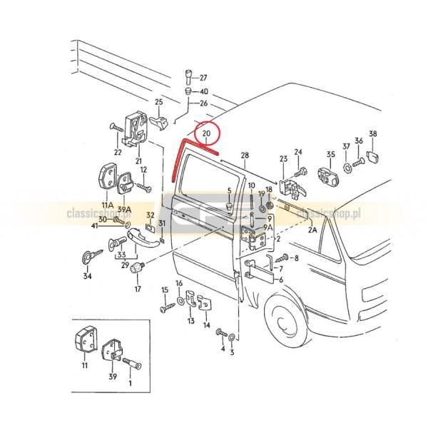 Uszczelka Drzwi Kabiny Lewa VW Bus T3 Doka