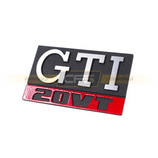 """Emblemat """"GTI 20VT"""" W Grill VW Golf 1, Jetta 1"""