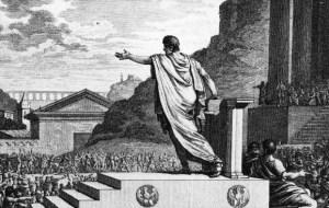 Tiberius addresses the Public Assembly in Silvestre D. Mirys' Plate 127 from the Figures de l'Histoire de la République Romaine Accompagnées d'un précis Historique