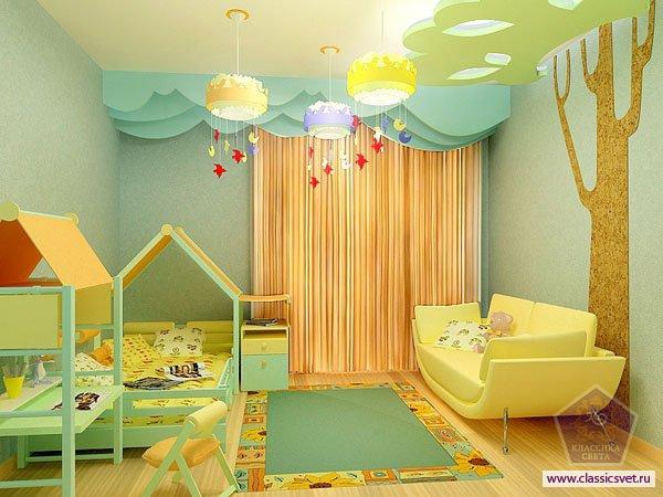 Интерьер детской комнаты. Освещение