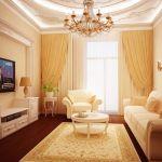 Дизайн гостиной в хрущевке. Люстра