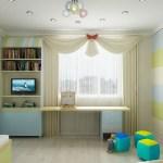 Дизайн современной детской комнаты с освещением.