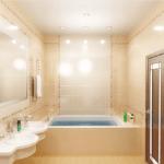Подвесной, подшивной и натяжной потолок в светлой ванной
