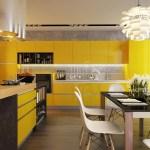Желтый цвет для оформления кухни с освещением