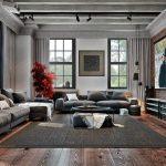 Дизайн интерьера гостиной с индустриальным стилем кухни и светом