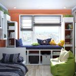 Мебель для детской комнаты квадратные вариации со светом