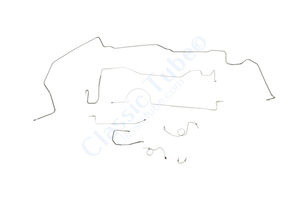 """Plymouth Barracuda Brake Line Kit  Power Drum - Right Front Routes Over Frame - 8-3/4"""" and Dana Axle (1 Pc. Front to Rear) -1970,1971"""