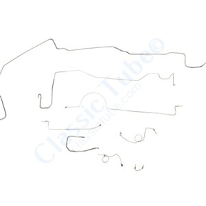 "Plymouth Barracuda Brake Line Kit  Power Drum - Right Front Routes Over Frame - 8-3/4"" and Dana Axle (1 Pc. Front to Rear) -1970,1971"