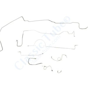 """Plymouth Barracuda Brake Line Kit  Standard Disc - Right Front Routes Over Frame - 8-3/4"""" and Dana Axle - With Metering Valve (2 Pc. Front to Rear) -1970,1971"""