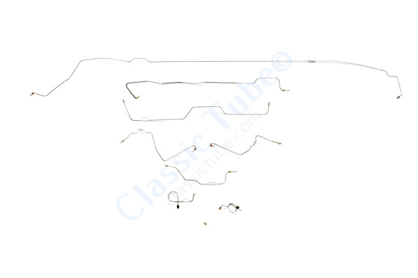 Ford Mustang Brake Line Kit (8pcs)  Standard Drum - 6 Cylinder Motor - Early (Built Before Feb. 1967) Right Front and Front to Rear Route Over Steering Box -1967