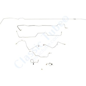 Ford Mustang Brake Line Kit (8pcs)  Standard Drum - 6 Cylinder Motor - Early (Built Before Feb. 1967)