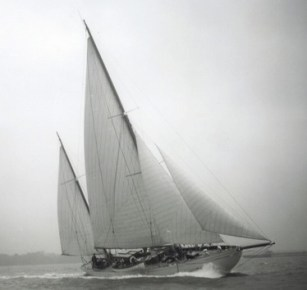 black and white image of Halcyon under sail