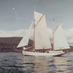 Gaff ketch Owl sailing in Scotland