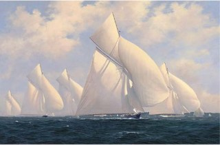 Sonya leading the 15-metre class, 1911 by Brian J Jones(oil on canvas)