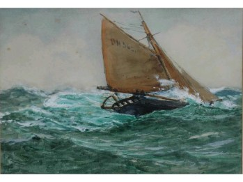 A fishing boat in a heavy swell