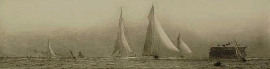 Racing yachts in the Solent off No Man's Land Fort