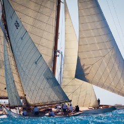 Cambria crosses the bow of Moonbeam of Fife