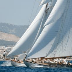 Spartan & Hispania at the start on Day 3 of Vela Clasica Mallorca, 2016