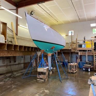 Centre Harbor 31 yacht shored up in Rockport Marine shipyard