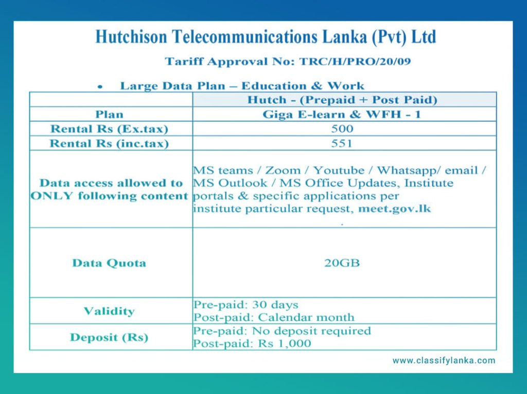 hutch etisalat new trc large data package