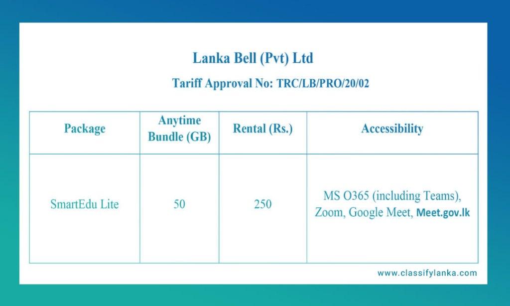 lanka bell new trc package