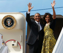 President and Michelle Obama Waving Goodbye