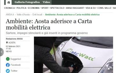 Rassegna stampa – Ansa – Ambiente: Aosta aderisce a Carta mobilità elettrica