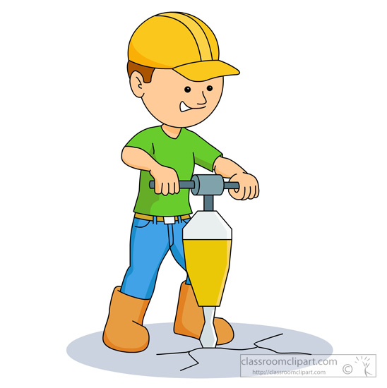 Construction Clipart Man Drilling On Ground With