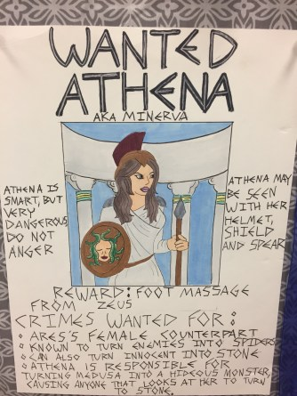 A few examples of the Wanted posters hanging in the class. Check out the rewards!
