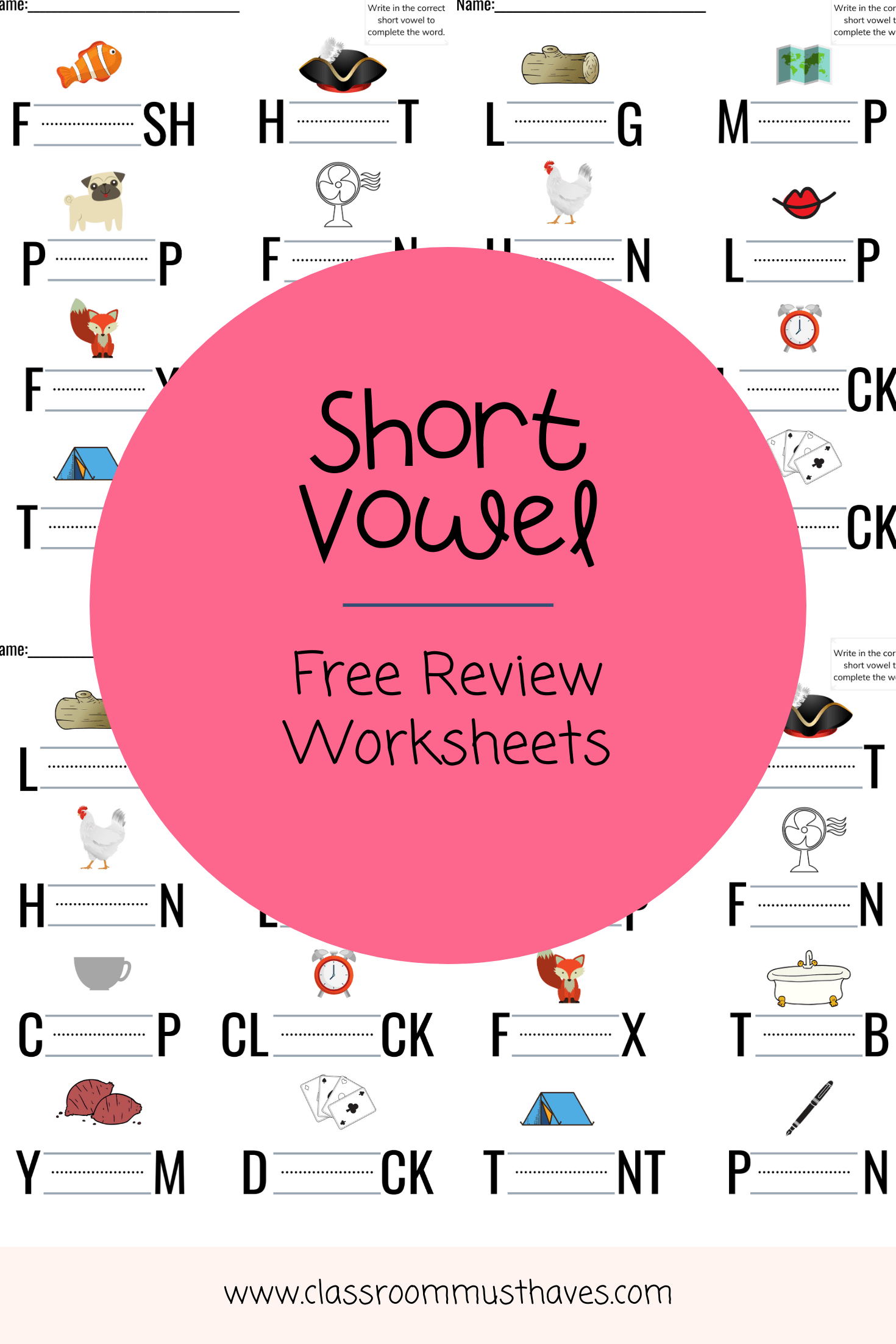 Free Short Vowel Review Worksheets