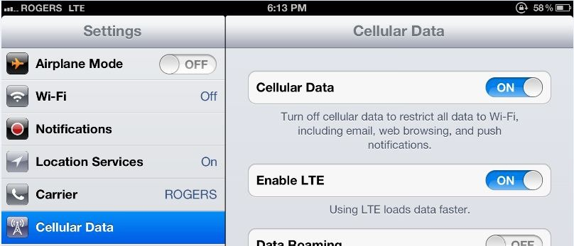 Connecting your new iPad 3 to the 4G LTE Rogers network in