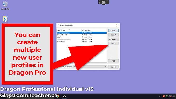 "You CAN add multiple new user profiles in the Dragon Professional V15 ""open user profile"" window"