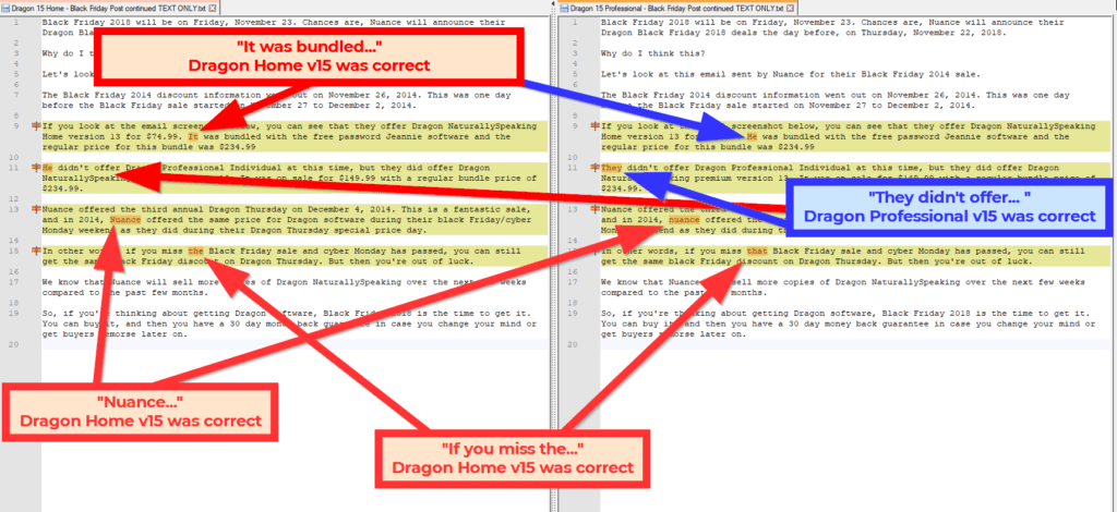 Screenshot comparing the speech-to-text accuracy of Dragon Home v15 vs Dragon Professional Individual v15 (part 2 Black Friday 2014 email)