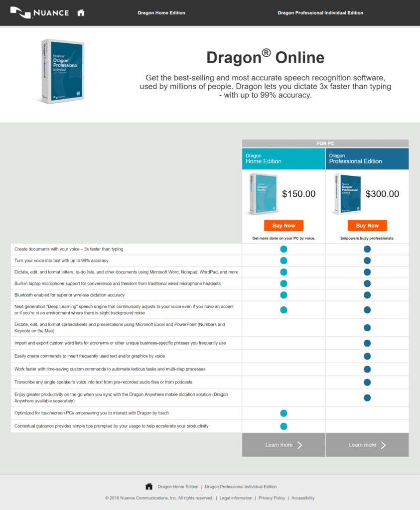 Screenshot of Official Nuance site showing difference between Dragon Home and Dragon Pro