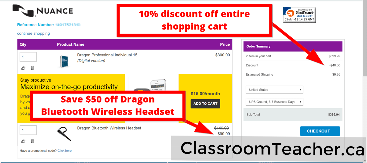 Screenshot of shopping cart showing 10% discount off entire cart