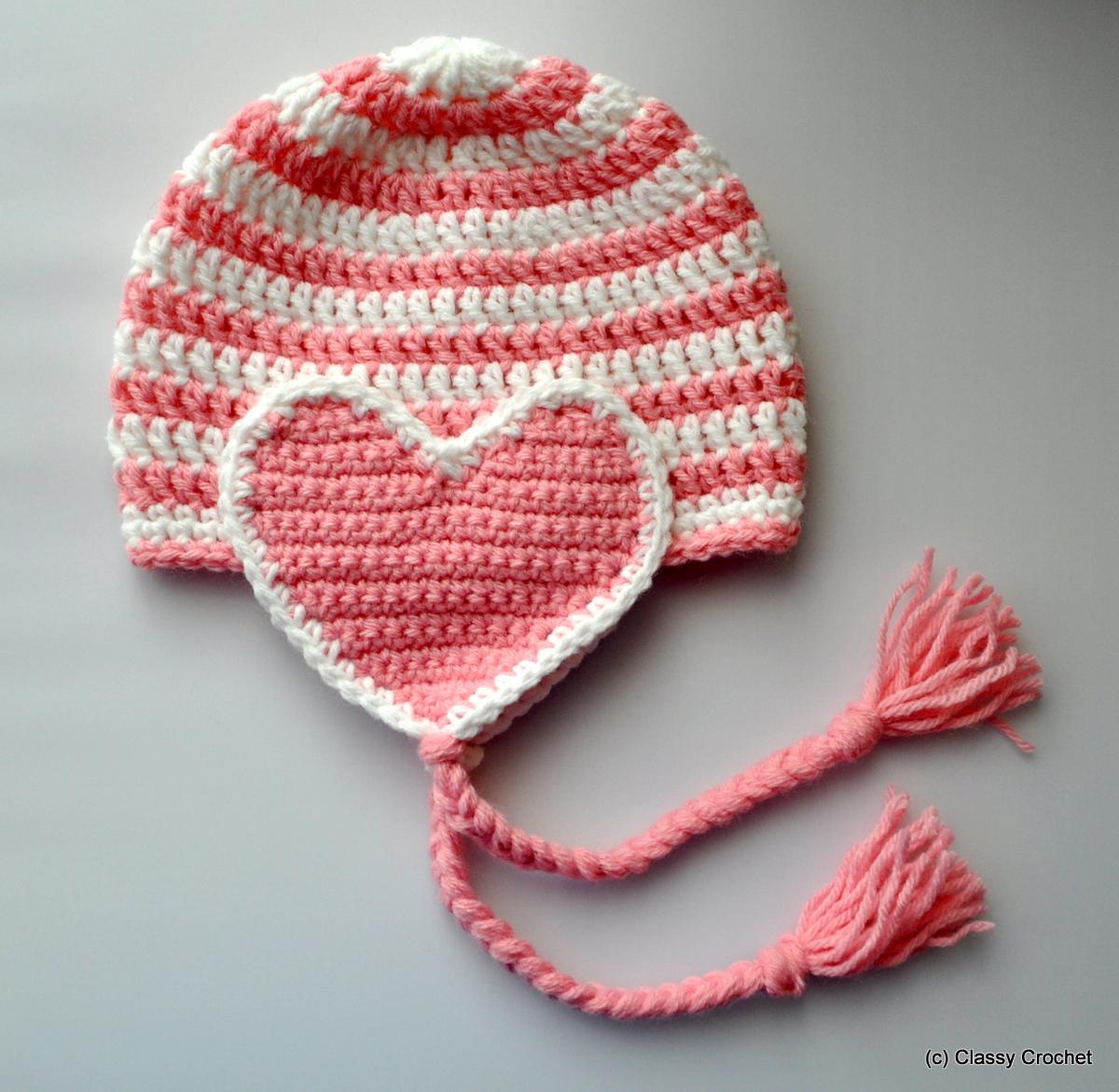 Free Pattern Crochet Valentine Heart Earflap Hat