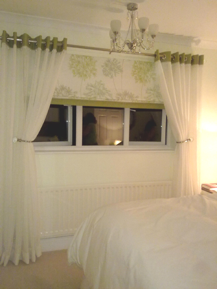 Roman Blind with Voile curtains
