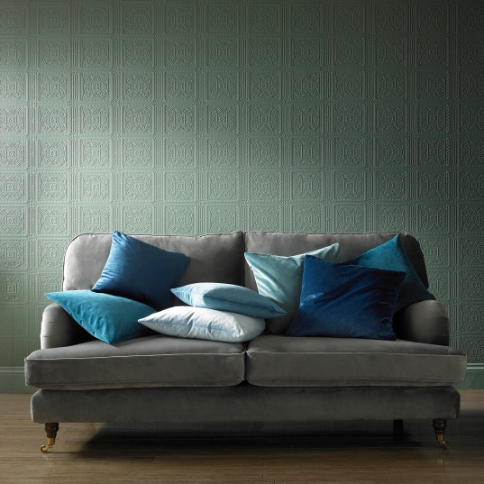 "alt=""photo of grey sofa with blue scatter cushions using Alaska Fabric by Ashely Wilde"""
