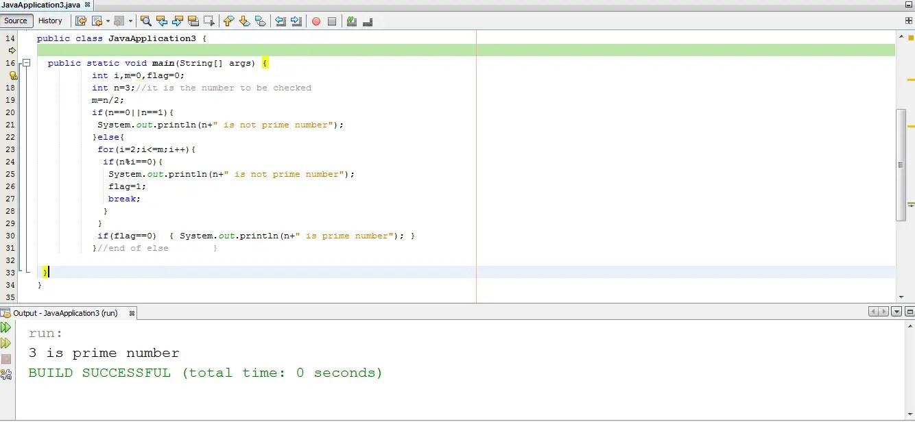 java program for prime number