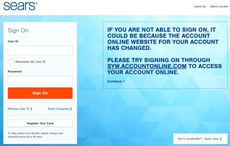 searscard.com login
