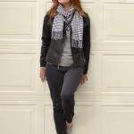 Leather Moto Jacket and Houndstooth