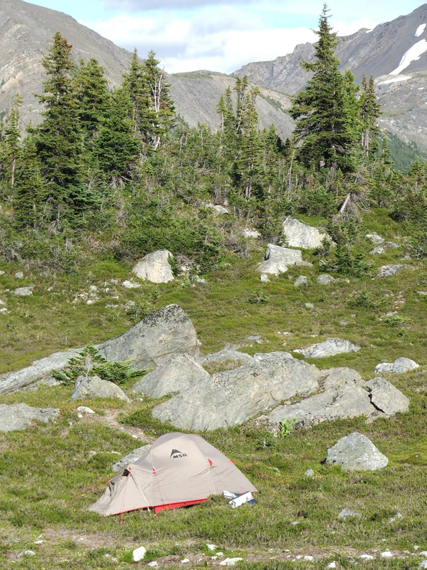 tent at Castle Creek, British Columbia (© 2008 clasticdetritus.com)