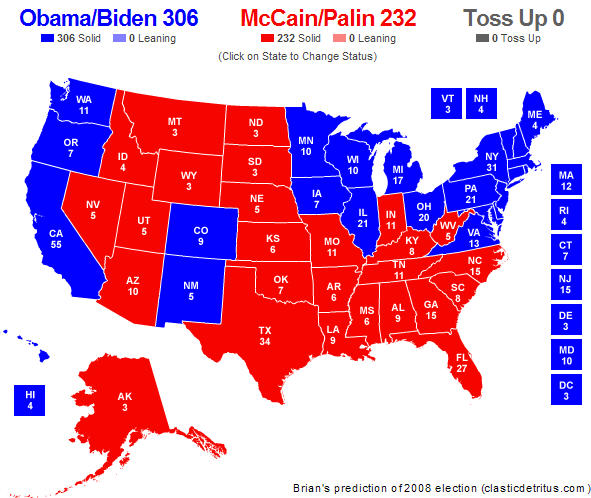 My prediction for the 2008 U.S. presidential election