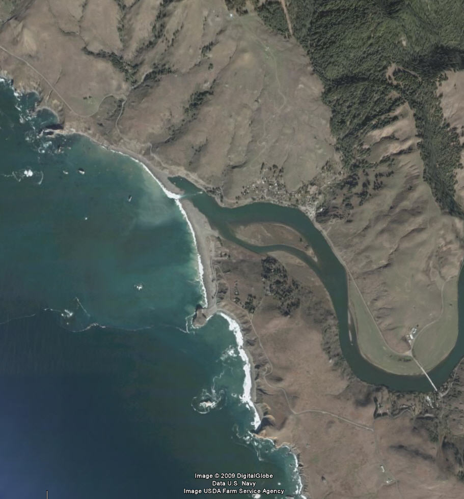 Russian River mouth, California coast (credit: GoogleEarth)