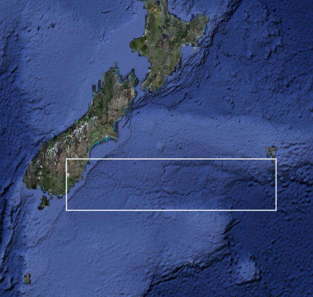 New Zealand with the Bounty Trough region highlighted (image: GoogleEarth)