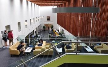 View of entrance foyer from Level 4 Mezzanine floor
