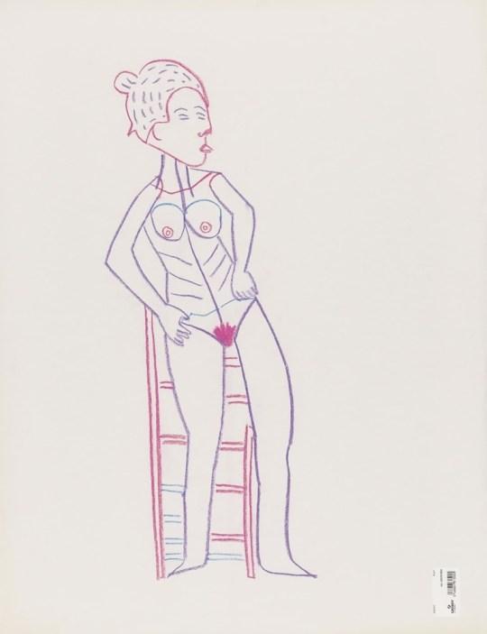 Femme sur un tabouret - Dessin de Claude Tironneau