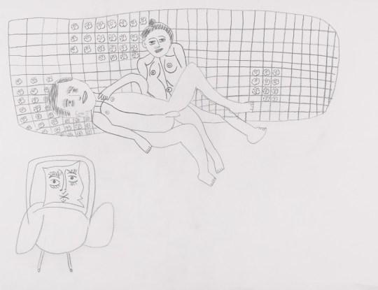 Jean-Marc allongé sur Sophie - Dessin de Claude Tironneau