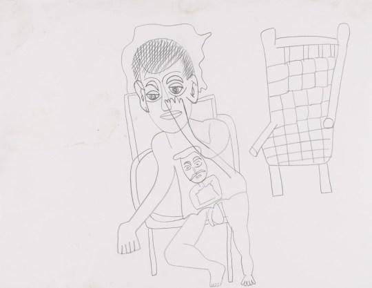 Jean-Marc avec chaise - Dessin de Claude Tironneau