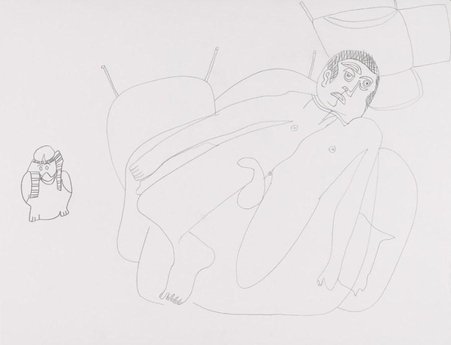 Jean-Marc dans un fauteuil - Dessin de Claude Tironneau